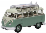 76VWS005 Oxford Diecast VW T1  Samba Bus/Surfboards Turquoise/Blue White